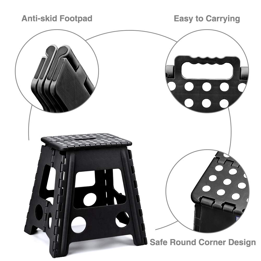 16 Inches Super Strong Folding Step Stool for Adults, Kitchen Stepping Stools, Garden Step Stool Black