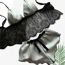 CALOFE 2020, сексуальные кружевные женские пижамы, тонкая секция нижнего белья, без черного цвета, модные пижамы с v-образным вырезом, камзол шорт...(Китай)