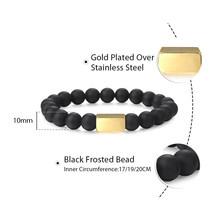 10 мм браслет из бисера с натуральным камнем, растягивающийся персонализированный браслет с гравировкой имени ID для мужчин и женщин, черный ...(Китай)