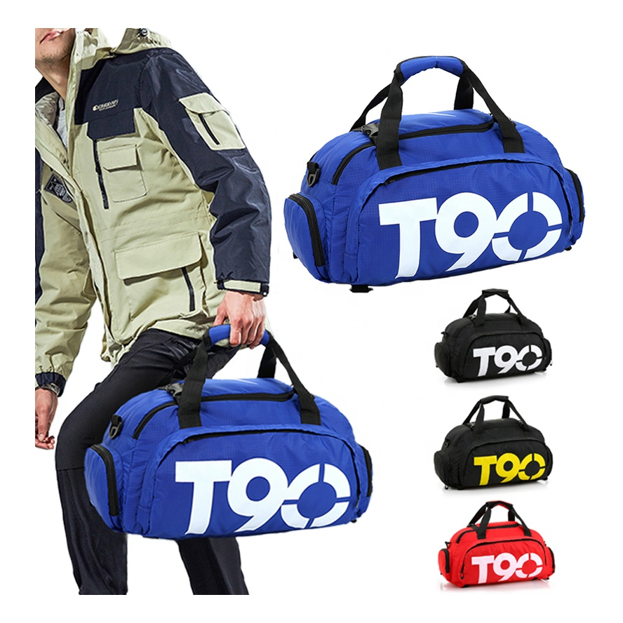 Wholesale custom cheap T90 duffle backpack mens travel bags sports gym bag with shoe compartment