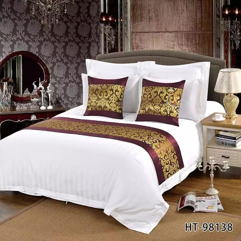 Wholesale Luxury Jacquard Polyester Size of Queen King Hotel Decorative Bed Runner