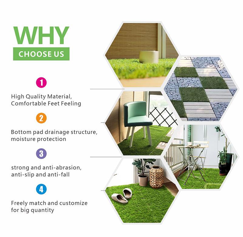 Artificial Lawn  Artificial Grass Tile Interlocking Self-Draining Mat Pet Turf Garden