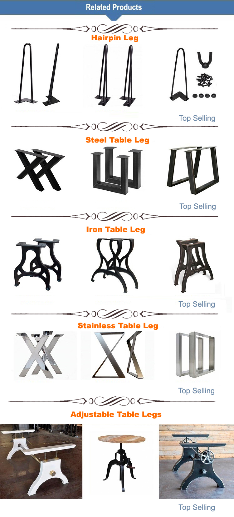 Custom Vintage Fashion Antique Industrial Metal Table Legs