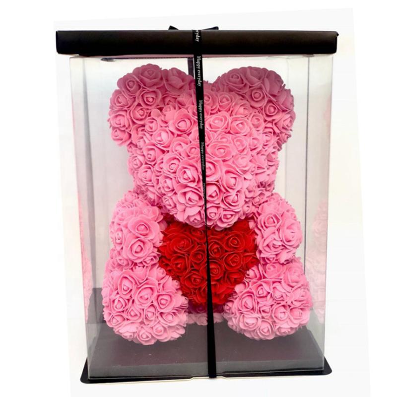 40cm belle rose ours en peluche fleur fait à la main ours de roses avec cadeau d'anniversaire