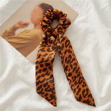 Женская лента для хвостика с леопардовым принтом, эластичная резинка для волос с бантом, аксессуары для волос, 2019(Китай)