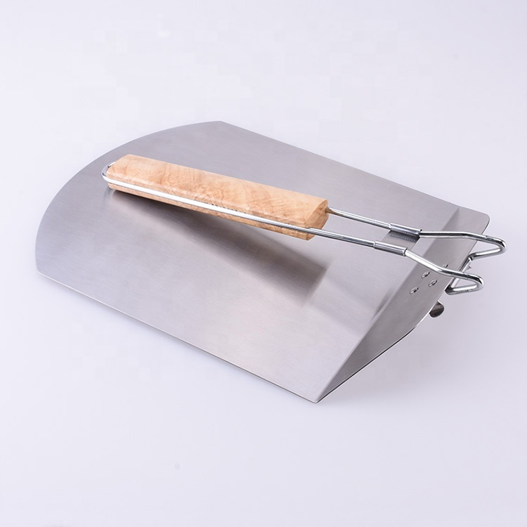BXL0503W Factory Price Heavy Duty Stainless Steel Rubber Wood handle Portable Foldable Pizza Server Spatula