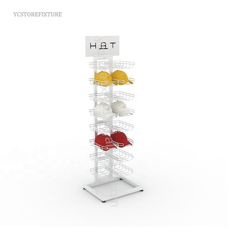 Retail store double sided floor metal hat display rack with wheels