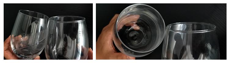 Custom size engraved stemless wine glass glitter champagne flutes