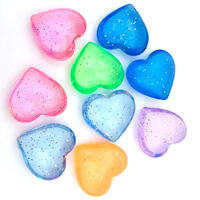 Hongzhi Factory Transparent Colorful Glitter Confetti Acrylic Beads Wholesale Acrylic Heart Beads For Jewelry Making