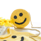 Yarncrafts Summer Round Straw Beach Bag Handmade Crochet bag Raffia Shoulder bag for kids