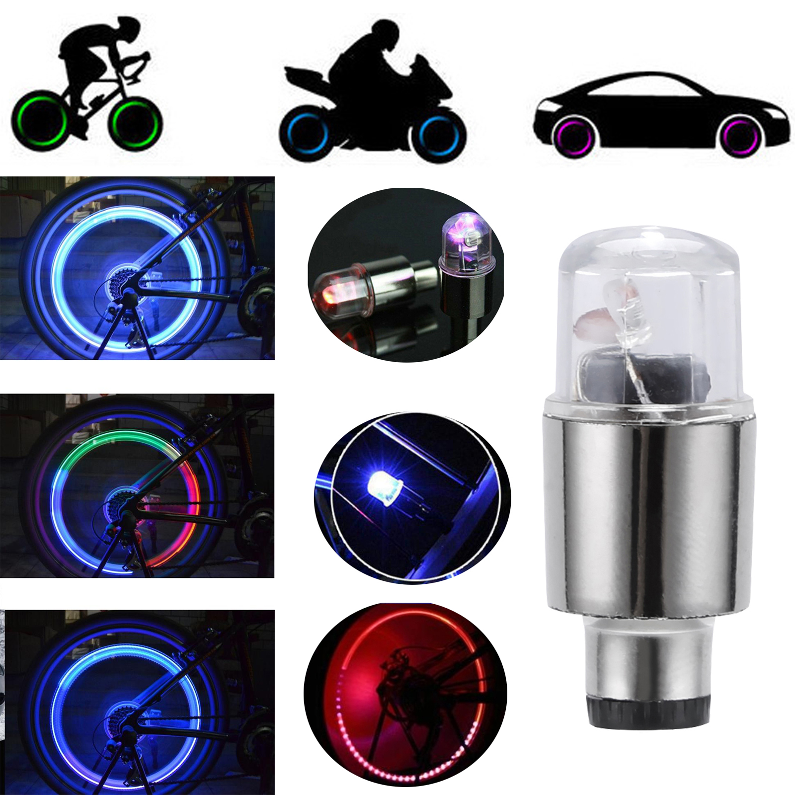 2Pcs RGB Flash LED Wheel Lights Valve Caps For Bike Car Motorcycle Battery Included