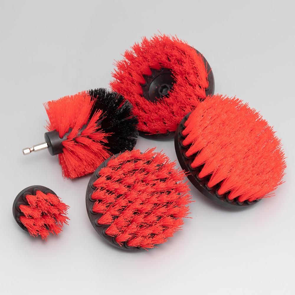 Red color 5 pack electric drill nylon brush set