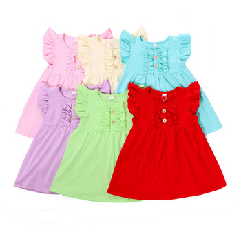 Solid colors dress wholesale girls baby clothing wood buttons knee length plain ruffle flutter sleeve dress headband 2pc set