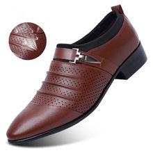 2020 мужские туфли из искусственной кожи; Новинка; Модные Мужские модельные лоферы в деловом стиле; Черные туфли с острым носком; Дышащие Туфл...(Китай)