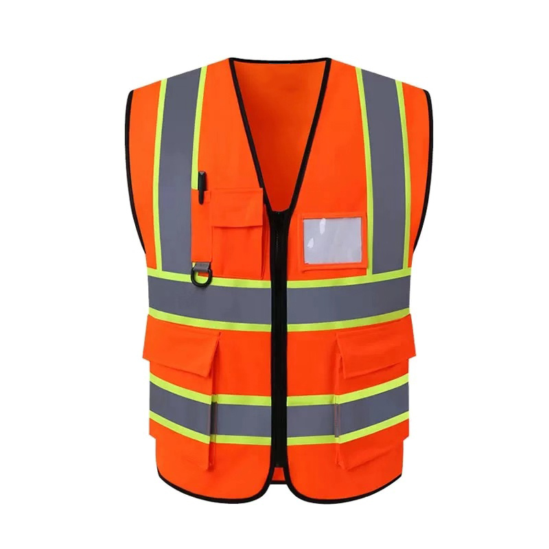 Five Pockets Front Traffic Security <strong>Vest</strong> Worker Workwear OEM Customize Zipper <strong>Orange</strong> Two Tones Polyester Safety <strong>Vest</strong>