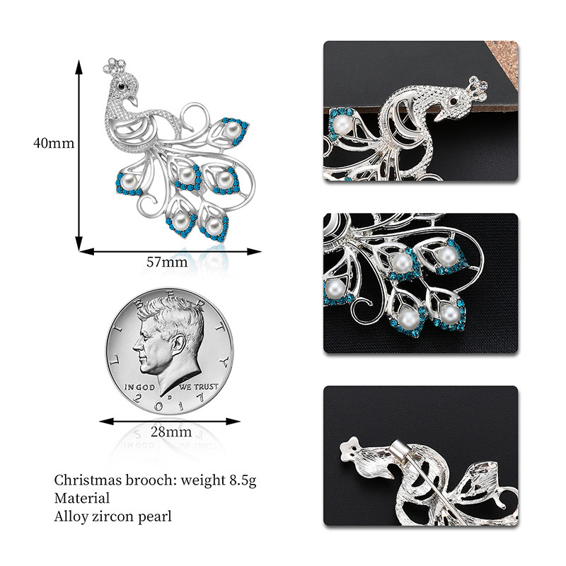Popular design full diamond animal  crystal peacock brooch alloy corsage clothing accessories