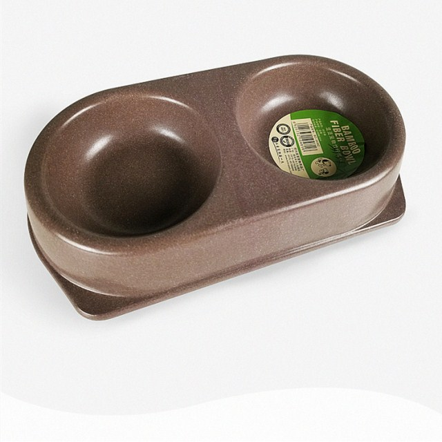 Double slow feeder double water food plastic bamboo fiber dog bowl pet cat bowl