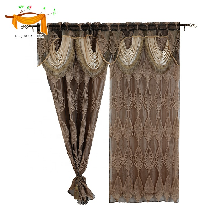 Luxury American Style Sheer Voile Fabric Jacquard Window Curtain With Macrame Valance and Backing