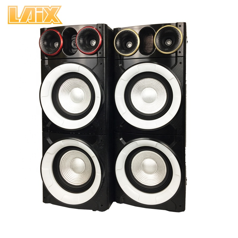 Laix DS-4 Stage Speaker 2.0  Speaker Dual 8 Inch 100W*2 Plastic Panel Speaker hometheatresystem with wireless microphone