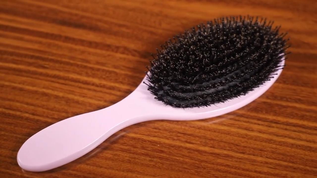 Baru Merah Muda Kayu Sikat Rambut dengan Boar Bulu Campuran Nilon private Label Rambut Sikat Boar Bulu Sikat Rambut Grosir