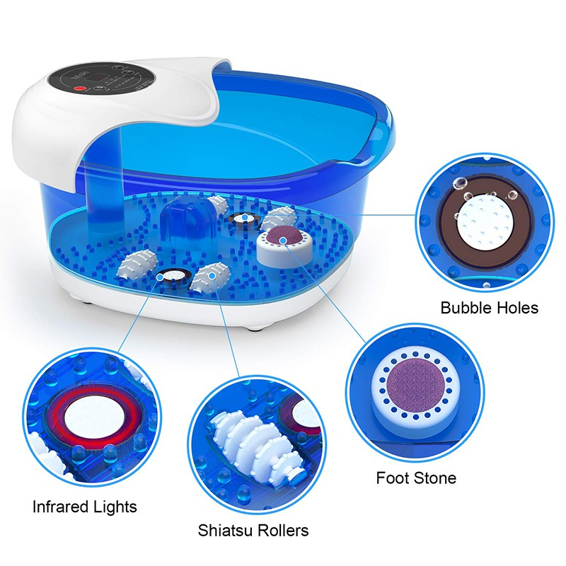 ETL Mimir Wholesale Heat Bubbles Vibration Foot Bath Massager with Pedicure Stone