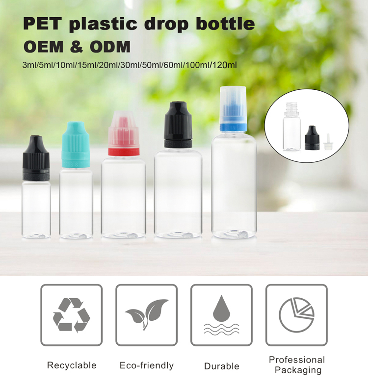 20ml PET plastic clear tamper evident liquid dropper bottle manufacturer