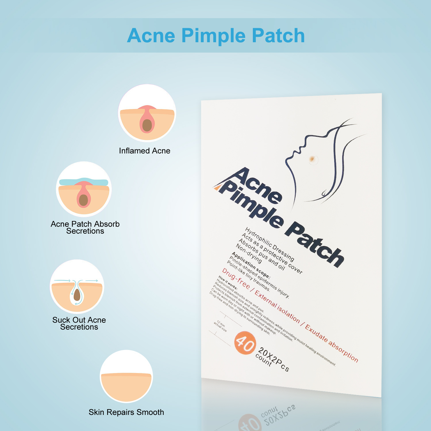 Pimple Master Patch Hydrocolloidacne Acne Stickers 12mm 20*2 Pcs a Box Acne Dots Sticker