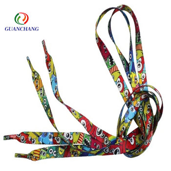 GuanChang Factory Custom Cheap Polyester elastic printed shoe laces