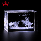 Dinosaur Image 3D Laser Engraved Glass Cube,3D Animals Crystal Block For Holiday Home Decoration