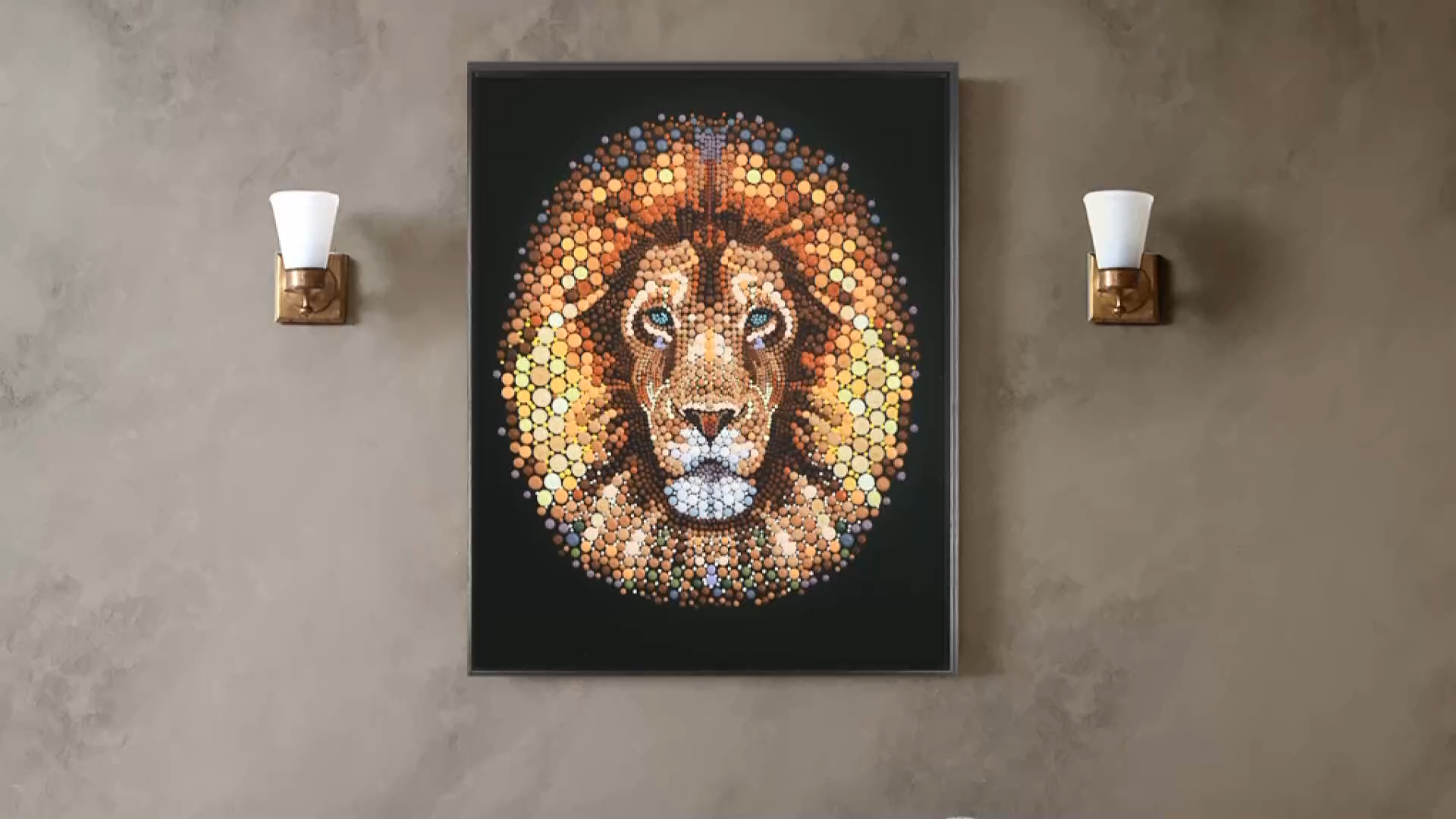 Animal head wall decoration Ben Heine Animal Lion in Dot Circlsm Handmade Painting Wall Decor 3d acrylic wall art
