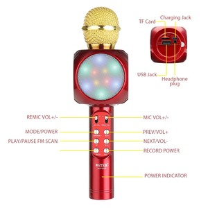 Fashion Led light 5W 1800 mAh usb mini bluetooth wireless handhold karaoke microphone