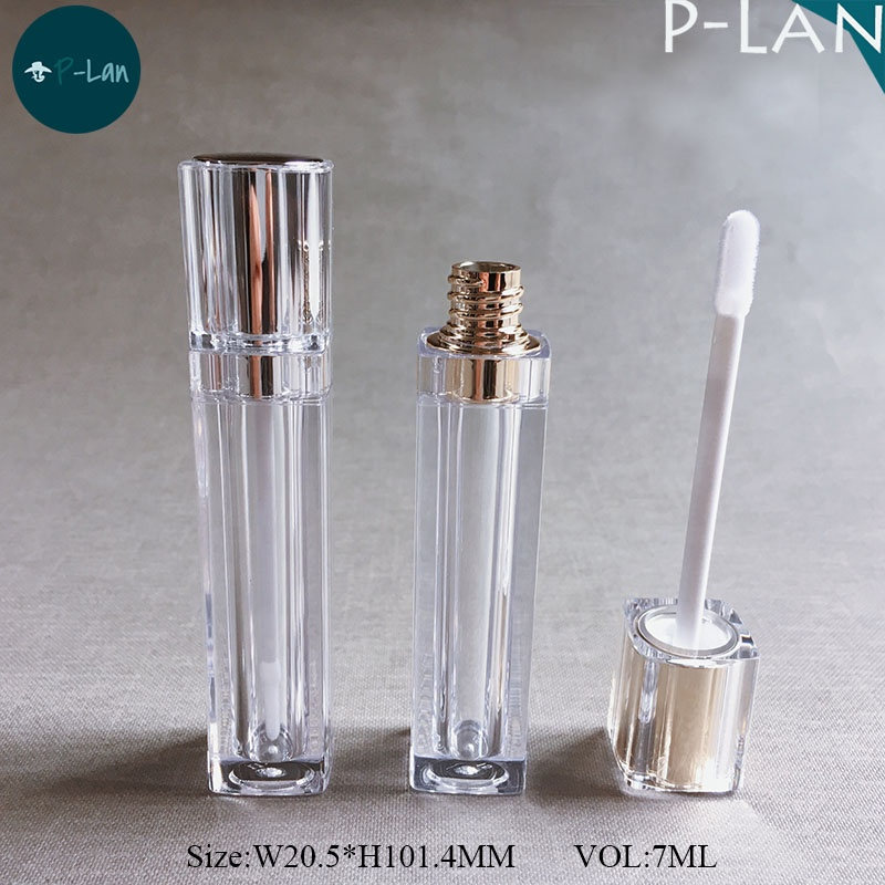 P-Lan Brand Stock 7ml Metal Silver/Gold Color Square Empty Clear Lip Gloss Container With Low MOQ