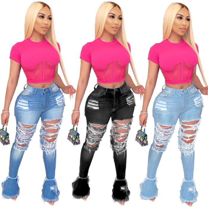 Toptan 2020 yeni tasarım kadın kot yığılmış kot rahat Flare kot XXL pantolon