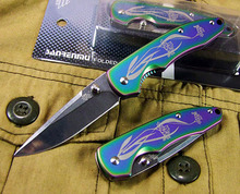 "Orchidee Patroon Multi-kleur Titanium Pocket Zakmes 6.3 ""EDC Messen 440C Staal 58Hrc Outdoor mes <span class=keywords><strong>Jachtmes</strong></span>"