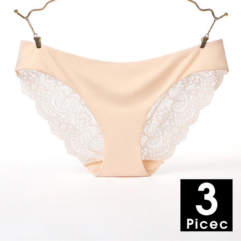 3 шт./лот, сексуальные женские трусики, кружевные трусы, бесшовное нижнее белье, Прозрачное нижнее белье, шелковые Трусы-стринги # F(Китай)
