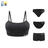 Fast Delivery Black White Grey Seamless 2 Piece Sets Women Bra and Panty Sets
