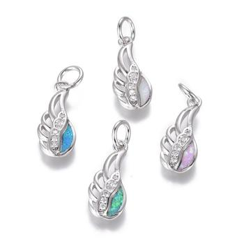Pandahall Platinum Mixed Color Synthetic Opal Wing Brass Cubic Zirconia Pendants