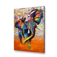 African Colours Canvas Print Watercolour Elephant Framed Wall Art Ready To Hand Decorative Painting