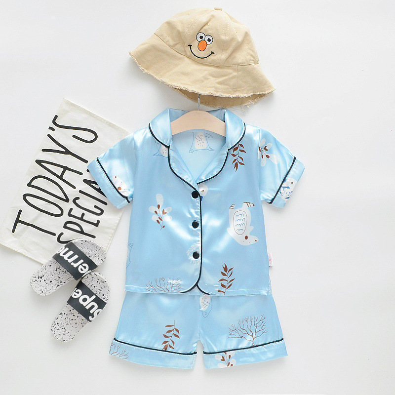 S60655B 2020 Boys And Girls Baby Tree Two Suit Children Korean Monk Clothes 2 Piece Set Kids Clothes