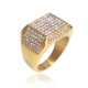 Square Shape Stainless Steel Gold Diamond Iced Out Ring Mens