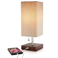 JLT-15656 Modern wooden bedroom beside 2.1A usb charing table lamp with usb port