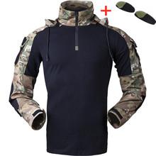 Тактическая Gen3 камуфляжная форма с капюшоном, Военная рубашка, армейский вентилятор CS, полевая стрельба, тренировочные боевые топы, мужские...(Китай)