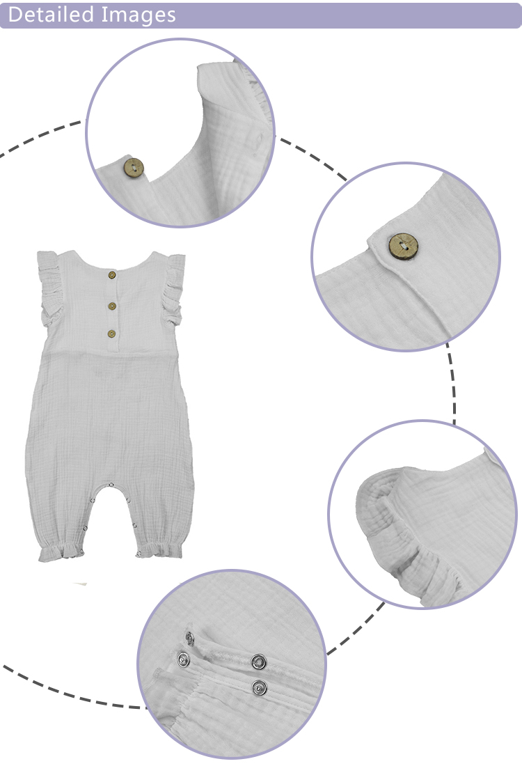 2019 Muslin Baby Button Rompers 100 Cotton Sleeves Ruffle Solid White Flutter Snaps Summer Baby Clothes