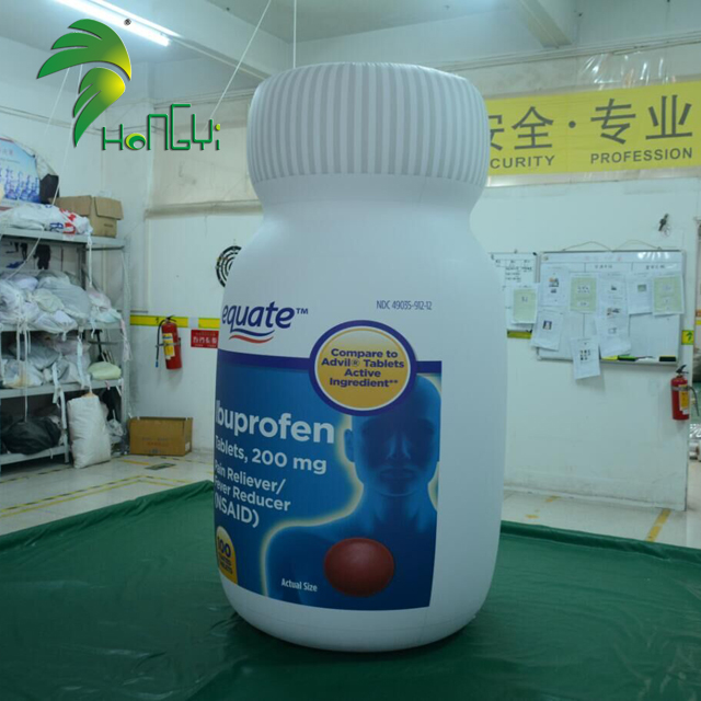 Customized promotion inflatable medicine bottle , advertising pvc inflatable bottle shape for sale