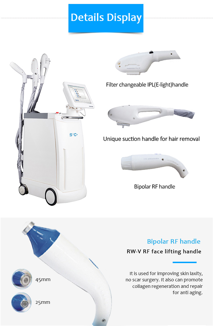 SHR E-light S1C+ IPL RF Freckle Vascular  Hair and Acne Removal 4 in 1 Best Beauty Machine
