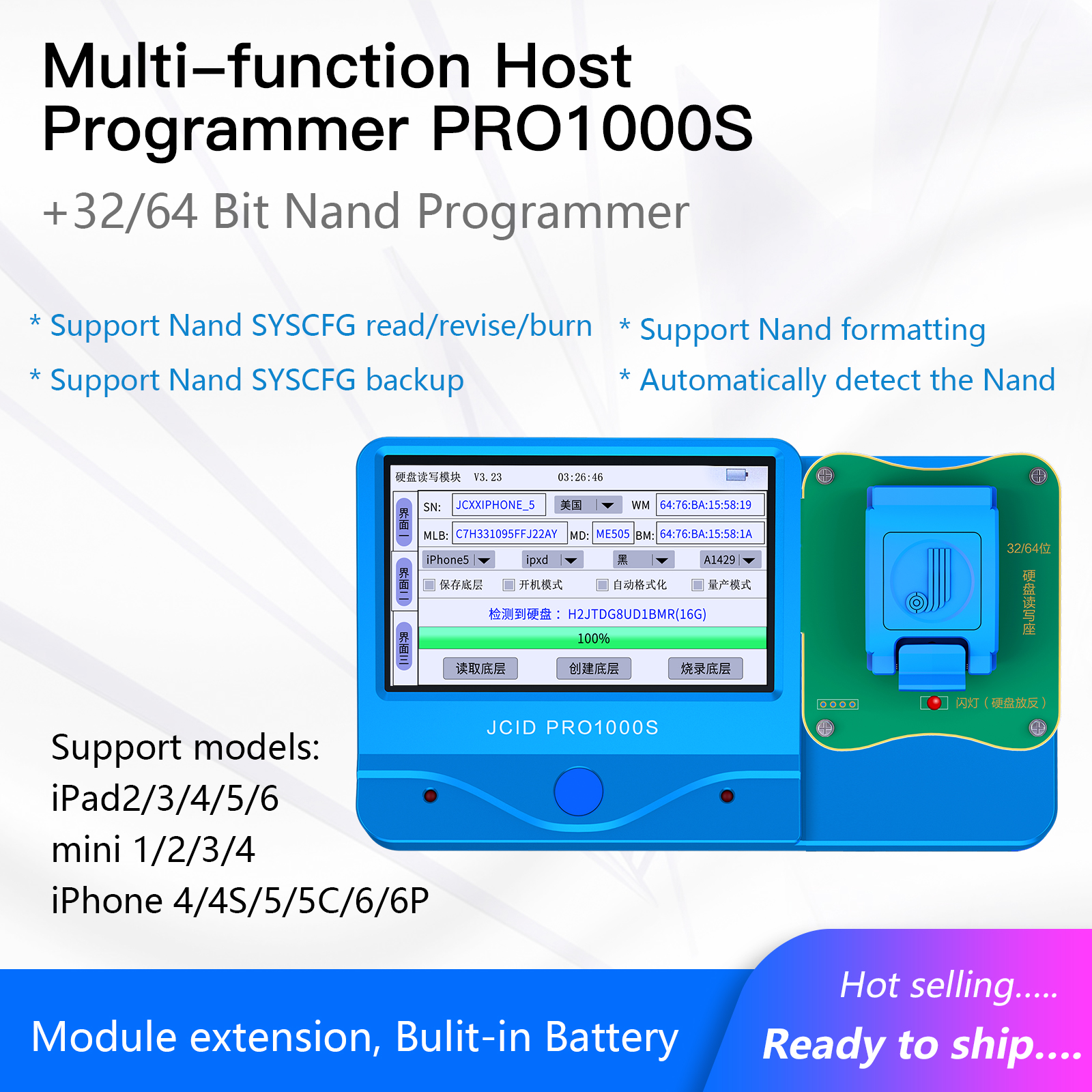 New hot selling JC N-3264 Nand Programmer for iPhone 4-6P for iPad1/2/3/4/mini1/2/3/4/Air1/2