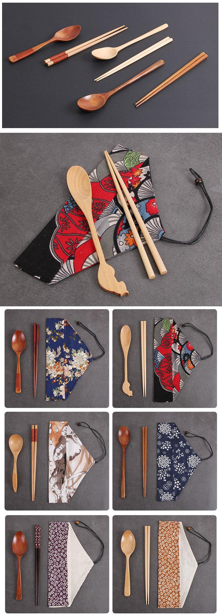 Korean reusable portable travel camping flatware bamboo wooden spoon and chopsticks gift set