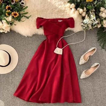 Fashion off shoulder women party red dress