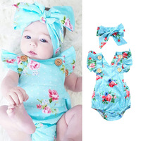2019 blue flowers rompers newborn baby clothes hot sale children summer 1to3 years old conjoined romper