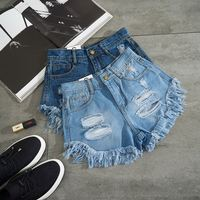 2019 Trend Designer Women 100% Cotton High Waist Denim Shorts